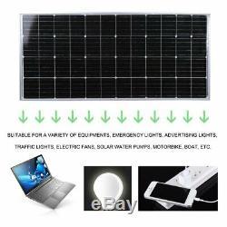 170W 12V Solar Panel MoncrystallineOff Grid PV Solar Powered Car Boat Home RV KC