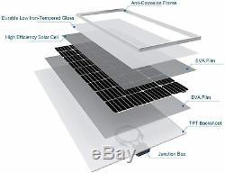 170W Waterproof Monocrystalline Solar Power Panel Kit 12V Charger Off Grid Boat