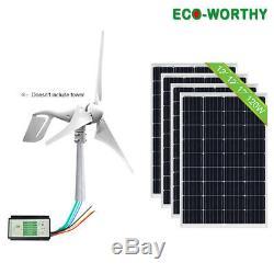1KW 900W 800W 500W 12V Hybrid Wind Solar Power Kit 400W Wind Turbine Off Grid