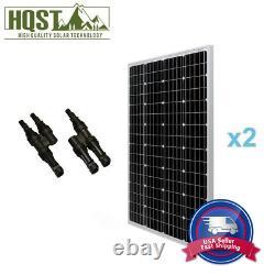 2 Pcs HQST 100W Solar Panel with Branch Connectors 200W Watt 12V PV Power Off Grid