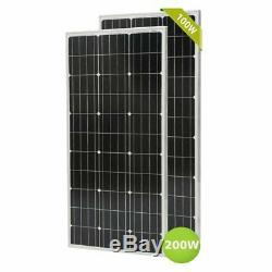 2 X 100W 12V Mono Solar Panel 200 Watt 24V RV Boat Off Grid Solar Power MS