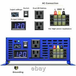 2000 watt Pure Sine Wave Inverter 24v dc to ac 110v 120v Off Grid Solar Power