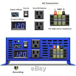 2000W Pure Sine Wave Inverter 24v to 110v 120v ac Solar Power Inverter Off Grid