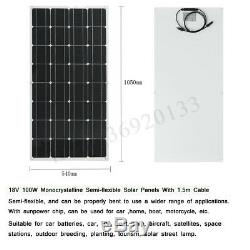200W Mono Semi-flexible Solar Panel 2x100W 18V Off Grid Battery Charger For 12V
