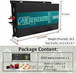 3000W Pure Sine Wave Power Inverter 24V DC Power Converter Off Grid Solar Car