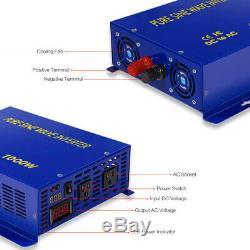 36V to 110V Pure Sine Wave Inverter 1000W Solar Power Generator Home Off Grid