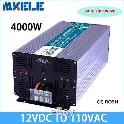 4000W DC12V to AC110V Pure Sine Wave Solar Power Inverter Off Grid LED Display