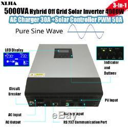 5000VA 4000W Hybrid Off Grid Pure Sine Wave Power Solar Inverter 48V to 220V PWM