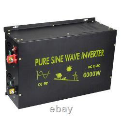 6000W 12V/24V DC to 120V/220V AC Off Grid Pure Sine Wave Home Power Inverter