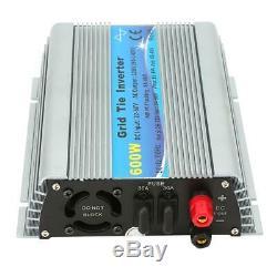 600W Grid Tie Pure Sine Wave Household Solar Power Inverter 22-60V 120V US Plug