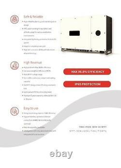 75KW Three Phase Build-in Six MPPT On-grid Sun PV Power Solar Inverter 200-950V