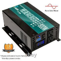 800W 36V to 120V Power Inverter Pure Sine Wave Solar Off Grid Home System Car RV
