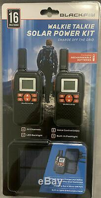 BlackFin Walkie Talkie Solar Power Kit, Rechargeable Batteries, Off Grid Charger