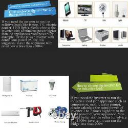 Home Power Inverter 3000W Pure Sine Wave 12V 24V to 120V LCD Display Off Grid