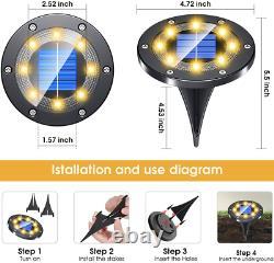 LED Solar Powered Buried Light Ground Lamp 8Pack Grid Design Shell Garden Path