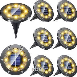 LED Solar Powered Buried Light Ground Lamp Grid Design Shell Garden Path 8Pack