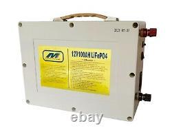 Lithium 12v 100Ah LiFePO4 Deep Cycle Battery BMS Off Grid Solar Marine RV Golf