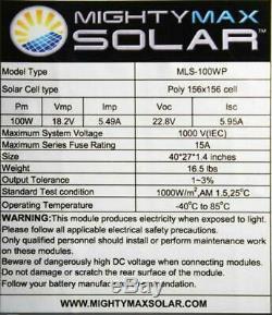 Mighty Max Battery 100 Watt Off Grid Solar Power System 100W 12V -18V High