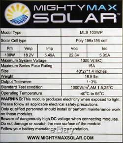 Mighty Max Battery 100 Watt Off Grid Solar Power System 100W 12V -18V High Eff
