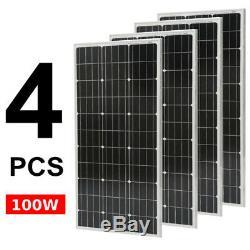 Monocrystalline 100 Watt 12V Solar Panel Off Grid Solar Power, (QTY 4) US
