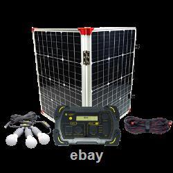 Off-Grid Camping Solar Power Kit Lion Energy Safari LT, Solar Panels, LED Lights