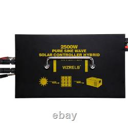 Off Grid Pure Sine Power Inverter 2500W 12/24V to 120/120V 30A Solar Controller