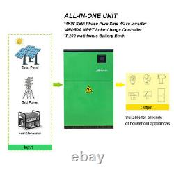 Off-grid power system, 7.2 KWh battery storage, 4KW inverter, 60A MPPT charge