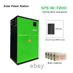 Off-grid solar power system, 4KW inverter, 7.2KWh Battery, 50A MPPT, 2.4KW PV