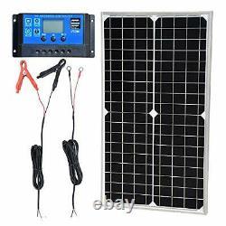 Portable Solar Panel Kit 30W 12V Monocrystalline Travel Power Camping Off Grid