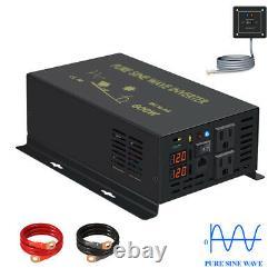 Power Inverter 600W Pure Sine Wave 36V 110V 120V Remote Switch Solar Off Grid RV