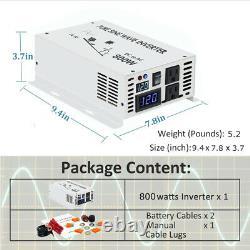 Power Inverter 800w 12v to 120v Pure Sine Wave DC to AC Converter Solar Off Grid