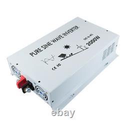Pure Sine Wave Inverter 2000W 24V DC to 120V AC Truck Car solar Off Grid Power