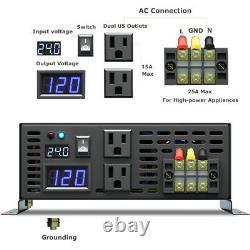 Pure Sine Wave Inverter 2000W Power Inverter 24V to 120V Off Grid LED Display
