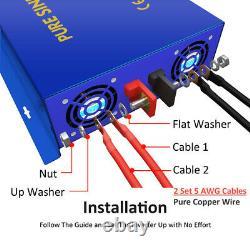 Pure Sine Wave Inverter 24v to 110v 120v 5000W Off Grid Solar Power Peak 10000W