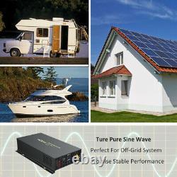 Pure Sine Wave Inverter 5000w 24V 110V Solar Home Garden Off Grid Generater Car