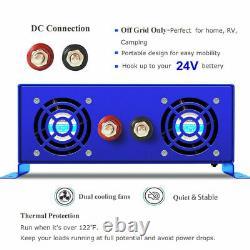 Pure Sine Wave Power Inverter 1000 watt 24 volt dc 110v 120v ac Off Grid Solar