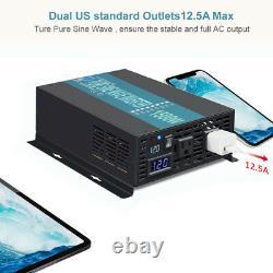 Pure Sine Wave Power Inverter 1500W 12V to 110V120V Solar Off Grid Motor RV