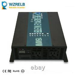 Pure Sine Wave Power Inverter 1500W 18V to 110V120V Car Off Grid Solar RV Camp