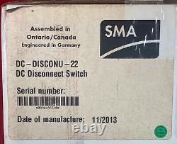 SMA Solar DC Disconnect Switch DC-DISCONU-22 Use with Sunny Boy Grid Tie Inverter