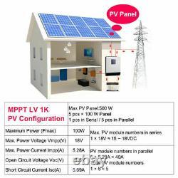 Solar Inverter 1Kva 110V Solar power Off Grid Inverter 12V 40A MPPT Charger US