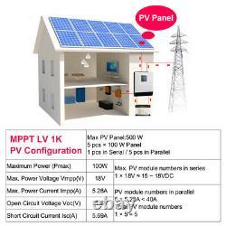 Solar Inverter 1Kva 800W 110V Solar power Off Grid Inverter 12V 40A MPPT Charger
