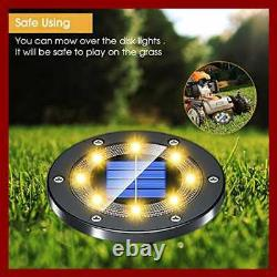 Solar Lights Outdoor Grid Design Shell Powered Frosted BLACK Ground Waterproof 8