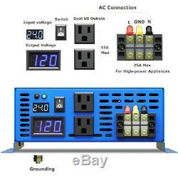 Solar Power 4000W Pure Sine Wave Inverter 12V to 110V Car Off Grid System Motor