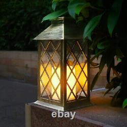Solar Power Hanging Lantern Grid Pattern Waterproof Outdoor Garden Decor Walkway