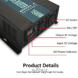 Solar Power Inverter 1500W 36V to 120/220V Off Grid Pure Sine Wave Remote Switch