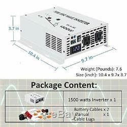 WZRELB 1500W True Pure Sine Wave Solar Power Inverter Off Grid 12VDC 1500W 12V