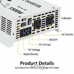 WZRELB 1500W True Pure Sine Wave Solar Power Inverter Off Grid 12VDC to 120VAC V